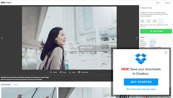 Integration von Getty Images auf Dropbox